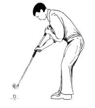 Die linke Hand fixiert an der Brust, die rechte Hand führt und beschleunigt das Schlägerpendel.