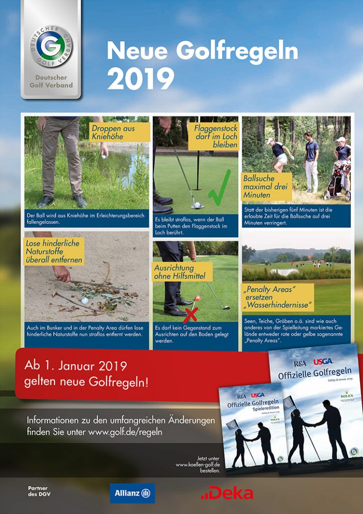Plakat: Neue Golfregeln 2019.